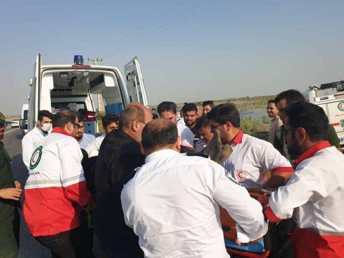 انتقال 15 مصدوم ون واژگون شده در خانقین عراق
