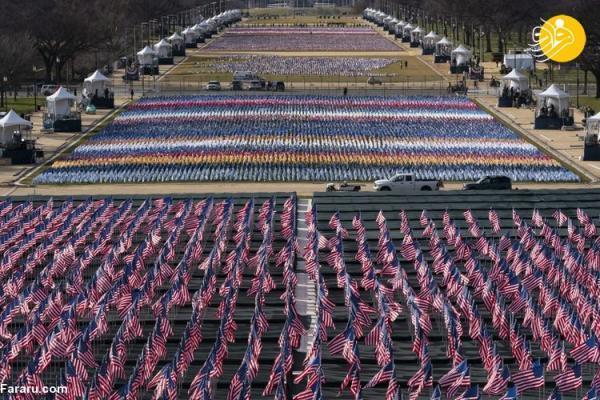 (تصاویر) پرچم به جای افراد در مراسم تحلیف بایدن